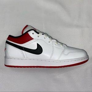 Nike Air Jordan 1 Low GS White Gym Red 7Y 8.5W NEW